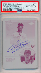 2018 Topps '83 Chrome Auto Printing Plate 1/1 Gleyber Torres RC PSA Authentic