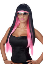 Womens Glam Black/Pink Diva Halloween Costume Wig