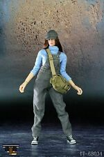 "TTL 1/6 Female Bib Pants Cloth Set Gray For 12"" Action Figure Body"