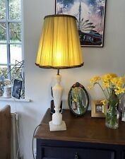 """Vintage Mid Century Large Tall Marble Alabaster Lamp And Yellow Shade 19"""" 33"""""""