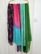 Bundle of 4 Indian Chiffon Floaty Spring Summer Scarfs Hijab Green Pink Tones