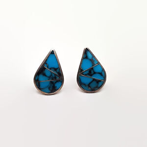 Vintage Southwestern Style Inlaid Faux Turquoise Sterling Silver Earrings