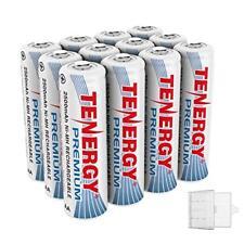 12PCS Tenergy AA 2500mAh Premium NiMH Rechargeable Batteries Cells AA+3 Holders