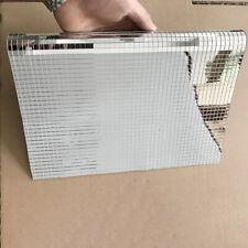 20cm Mosaic Tiles Self Adhesive Mirror Glass Decal Sticker Silver DIY Home Decor