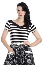 Hell Bunny Caitlin Black White Striped Retro Natutical Vintage Rockabilly Top
