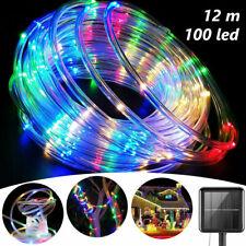 12M 100 Led Energia Solar Tubo De Corda Cordas Faixa De Luzes de Fada Outdoor Mix-Color