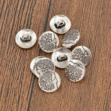 10 Pcs Vintage Silver Metal Shank Buttons Round Life Tree Carved Handmade Craft