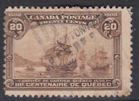 "Canada Scott #103 20 cent Cartier's Arrival ""Quebec Tercentenary""  F *"