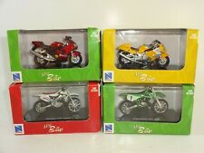 Lot of 4 New Ray Mini Bike Honda CR 125R Suzuki GSX 1300R Kawasaki ZX-12R KX 250