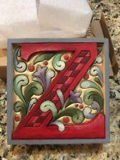 "Jim Shore Monogram Block Letter ""Z""  Sit Or Hang #4013215Z New Box Store Sample"