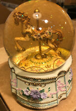 Vtg The San Francisco Music Box Company Snow Globe Carousel Horse