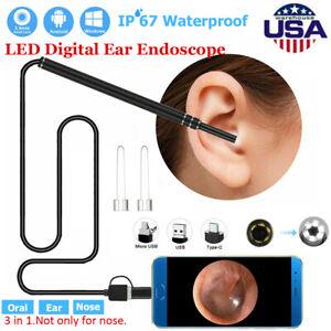 LED Digital Endoscope Otoscope Ear Scope Camera 3 in 1 USB Ear Wax Cleaning Kit