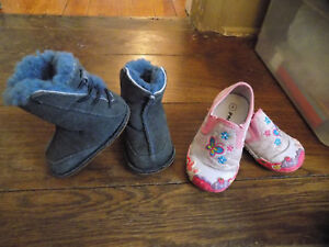 Lot Ugg Australia Boo Blue Toddler boots sz 4 & Papos Bunny Butterfly Sneakers