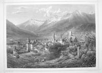 ITALY Meran Merano South Tyrol - 1870s Original Engraving Print