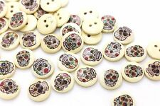BOHO Skull Wood Button Hippie Chic Bohemian Cute Wooden DIY Craft 15mm 20pcs