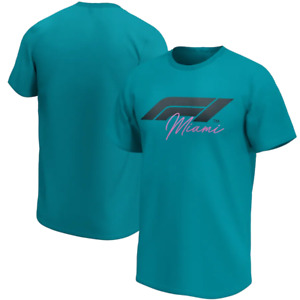 F1 Miami Men's T-Shirt (Size 2XL) Men's Formula 1 Logo T-Shirt - Teal - New