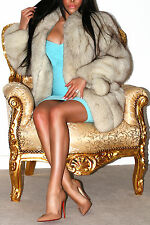 AMAZING SILVER LIGHT PLATINUM BLUE SAGA FOX REAL FUR COAT SHORT JACKET STUNNING!