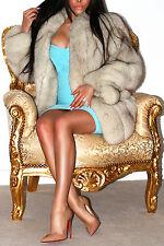 Increíble Plata Platino Luz Azul SAGA FOX Piel Verdadera Abrigo Chaqueta corta! impresionante!