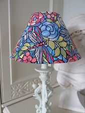 Handmade Coolie Lampshade Stained Glass Art Nouveau Style fabric in multi 25cm