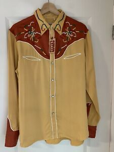 LVC LEVI'S VINTAGE CLOTHING 1939 SILK WESTERN WEAR EMBROIDERED RODEO SHIRT SZ M