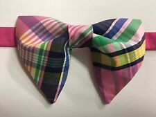 Handmade Pink Plaid Bow tie Vintage style 70`s Bowtie Pretied