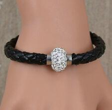Black Color Leather Wristband Magnetic Rhinestone Bracelet - size S