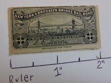 Rare 1880s Brooklyn Bridge Rail Road BBRR New York City Subway Navy Blue Ticket