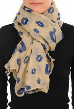 Beige With Navy Blue Lips Unisex Scarf and Beach Sarong (SF000700)