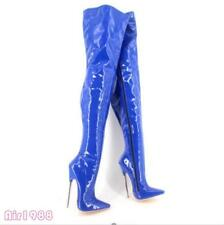 Womens Pointed Toe Metal High Heel Show Clubwear Over Knee Thigh High Boots Sz12