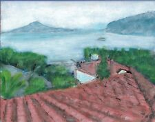 Terry George painting of view of Vesuvius from Sorrento, Italy