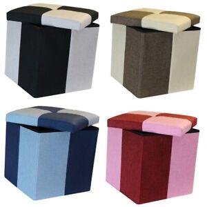 QUATTRO SMALL STORAGE BOX FOLDING CUBE FOOT STOOL REST SEAT LID CHECK MULTI