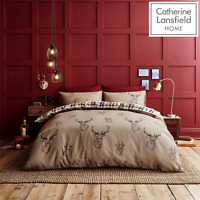 Catherine Lansfield Duvet Set Highland Stag Reversible Check Bedding Mushroom