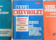 1976 CHEVROLET OVERHAUL MANUAL SUPPLEMENT CORVETTE CAMARO CHEVELLE MONTE CARLO