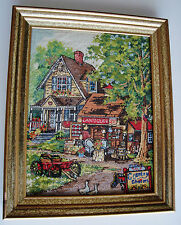 Framed NEEDLEPOINT Picture ~ ANTIQUES Shop & Signage ~ Different Style Stitches