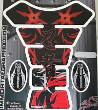 Kawasaki Ninja Kanji throwing star Red Motorcycle Gel tank pad tankpad protector