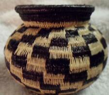 Wounaan Embera Indian Black & White Woven Basket-Panama 17081025L