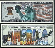 Lot of 100- America The Beautiful Million Dollar Bills w/ Statue of Liberty