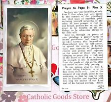 St. Pius X with Prayer to Pope Saint Pius X  - Paperstock Holy Card