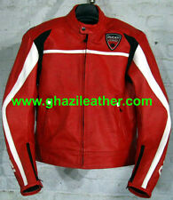 DUCATI MEN MOTORBIKE LEATHER RACING JACKET RED COLOR SIZE S,M,L,XL,2XL,3XL,4XL