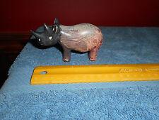 Vintage Carved Soapstone Rhino Rhinoceros African Animal Figurine Made in Kenya