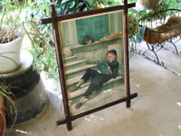 Antique Framed VICTORIAN Color CHROMOLITHOGRAPH Print, BOY, KITTEN by C. AMYOT