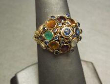 Vintage Estate C1960 10K Gold 4.50TCW Multi Gemstone Thai Princess Ring Sz 8.5