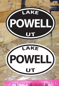 Lake Powell Utah UT POWELL oval sticker decals Black and White - 2 for 1