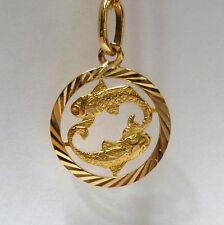 18k 750er Zodiaco Peces Colgante de Oro Oro Colgante