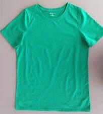 Womens Lands End Short Sleeve Relaxed Cotton T-Shirt Crewneck Green Tall Small