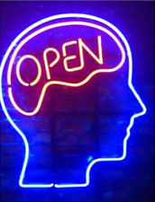 """Open Mind Blue Neon Sign Lamp Light 14""""x10"""" Decor Glass With Dimmer"""