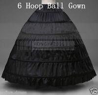 2018 Crinoline/Prom Black 6 HOOP Petticoat Wedding/Bridal Hoopless Underskirt