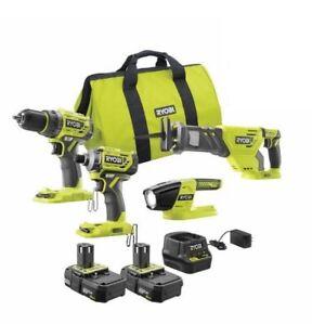 RYOBI 18V 4 Tool Kit Impact Saw Drill 2X Battery P252 P239 P518 P190 - BRUSHLESS