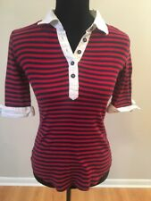 Anthropologie Bordeaux Women's Top Red Blue Striped Elbow Sleeve Size Small