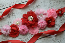 Flower Sash, shades pink red Sash , flower Belt, maternity sash